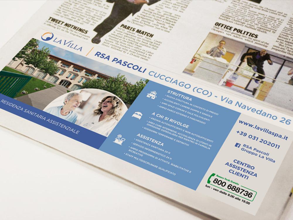 Realizzazione pubblicità giornale La Villa
